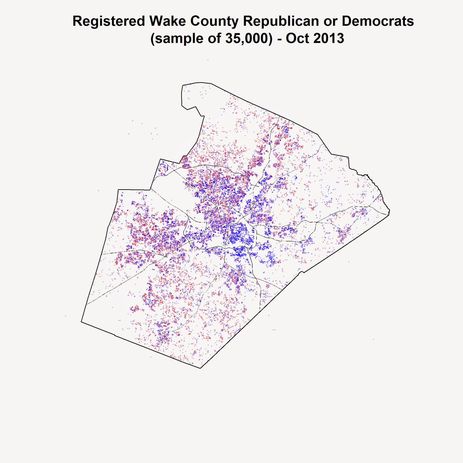 a map of registered republicans and democrats in wake county
