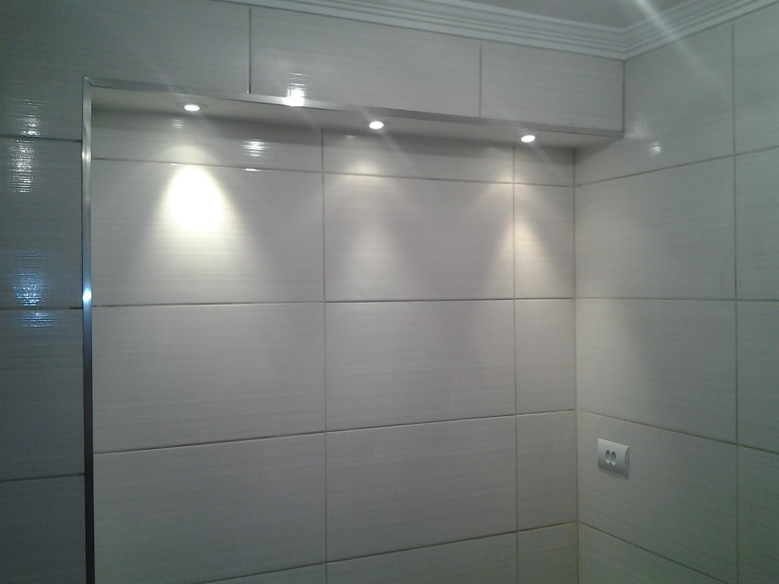 Acabamento em Banheiro com caixa de gesso para iluminação de espelho  #455258 1600 1200