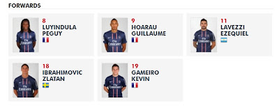 Paris Saint-Germain FC - Forwards 2012-2013