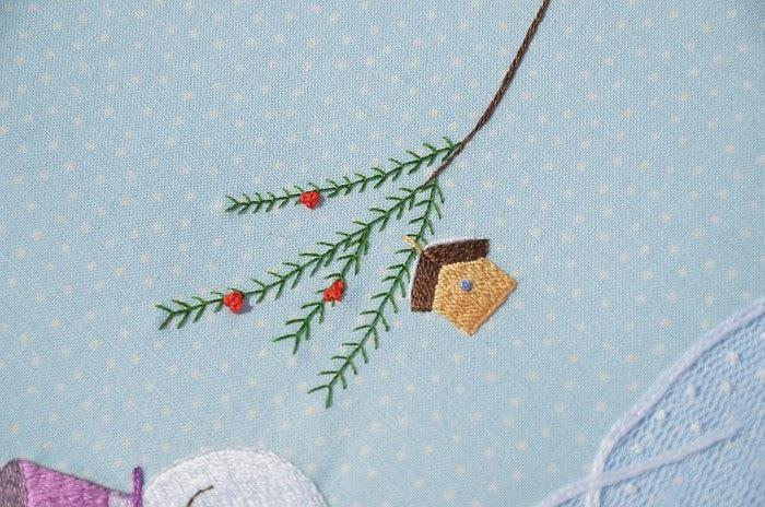 Снеговик, вышивка гладью, Ольга граф
