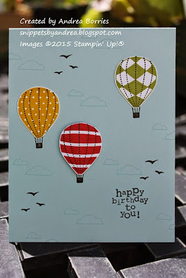 Birthday card made with the Up, Up & Away stamp set.