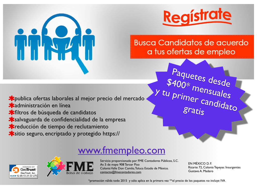 Busca empleo en Toluca de Lerdo, Estado de México en el en la bolsa de trabajo más grande de México. Encuentra ofertas de trabajo y avisos de las mejores empresas, sólo en Bumeran.