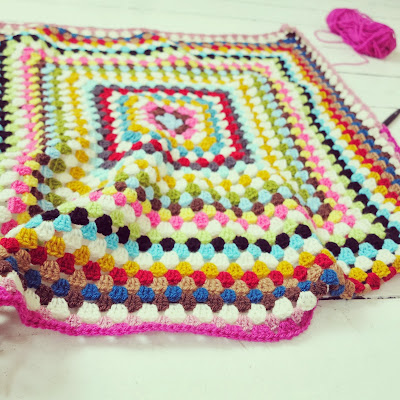 ByHaafner, crochet, granny square throw, wip