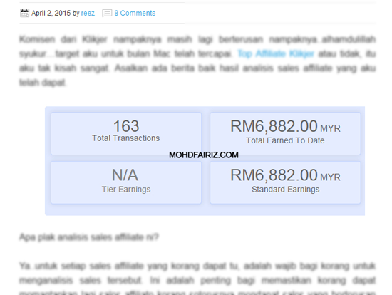 Blogger Jana Income RM6K Dari Affiliate