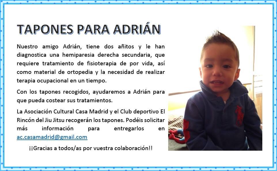 Tapones solidarios para Adrián