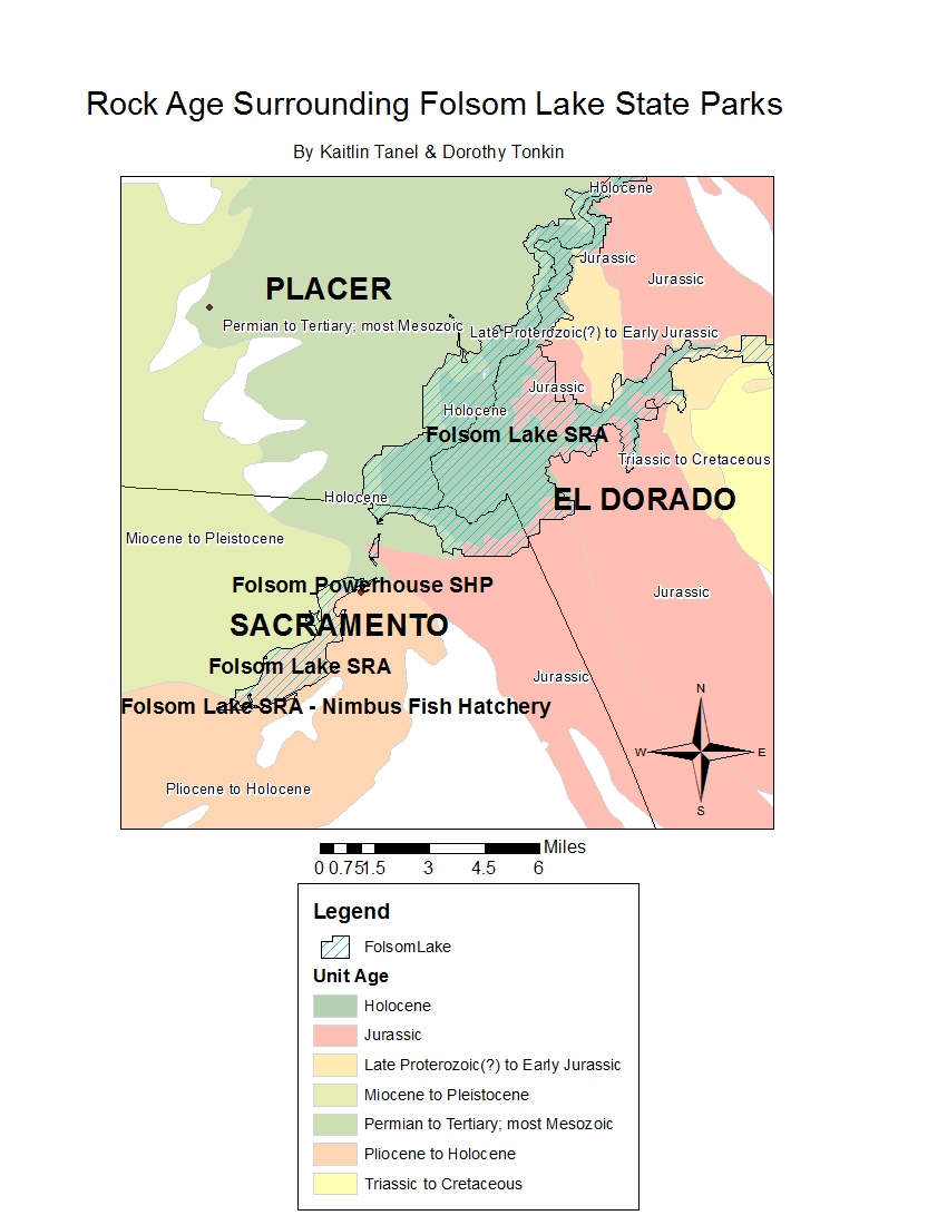 For Our Map We Used A California Counties Layer A Layer Depicting Which Areas Are Included In The Folsom Lake State Parks And A Geologic Layer Showing The