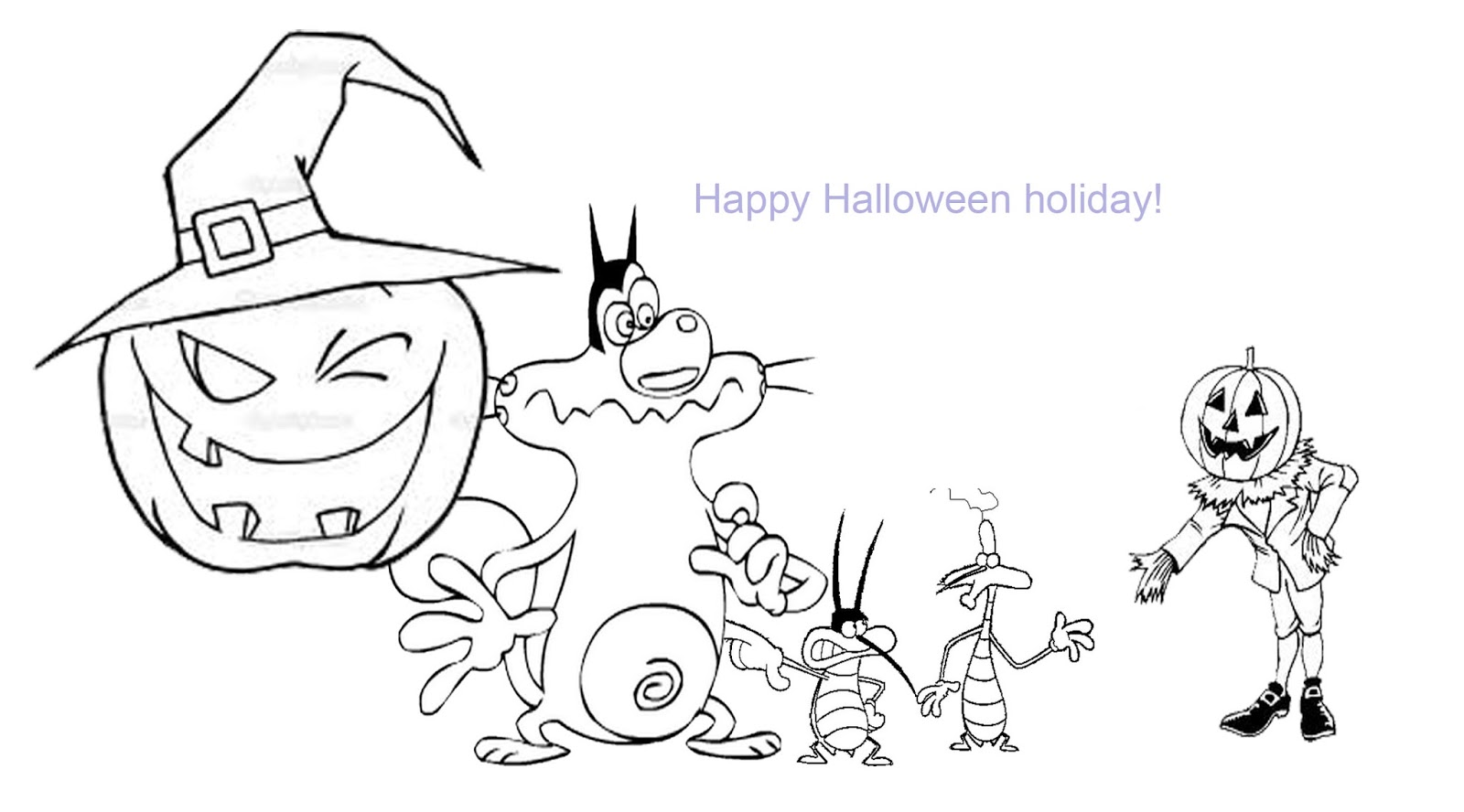 oggy and the cockroaches coloring pages for halloween