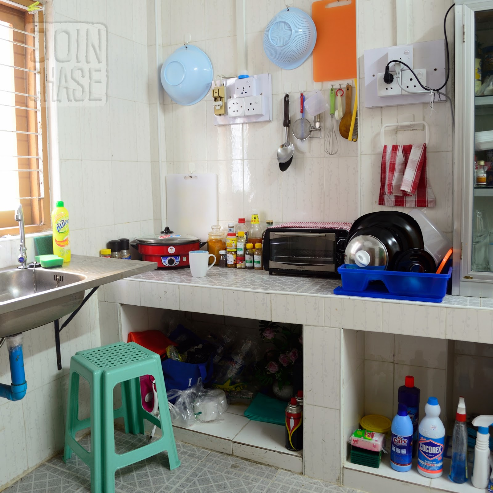 A typical kitchen in an apartment in Yangon, Myanmar.