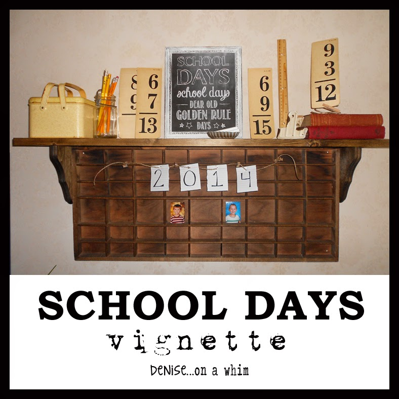 A Back To School Vignette with my New Chalkboard Printable from Denise on a Whim