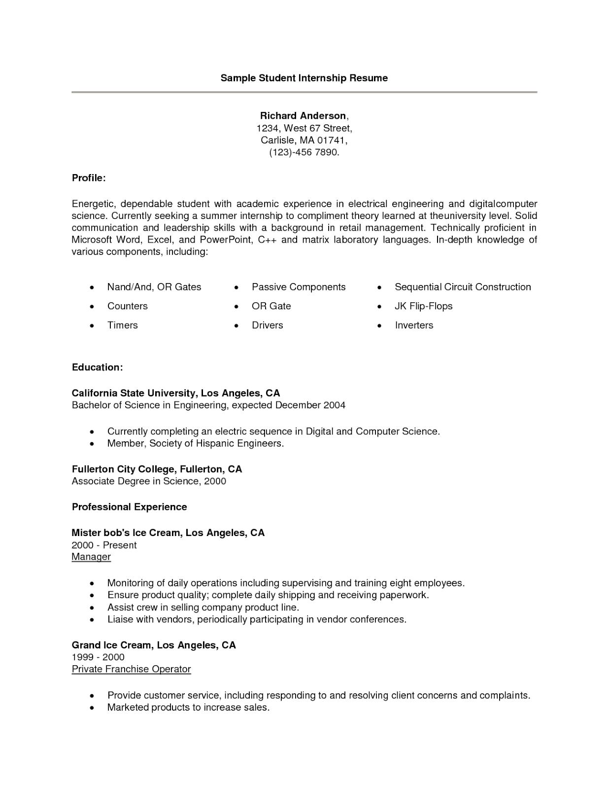 training internship college credits accounting finance resume    sample resume for summer internship