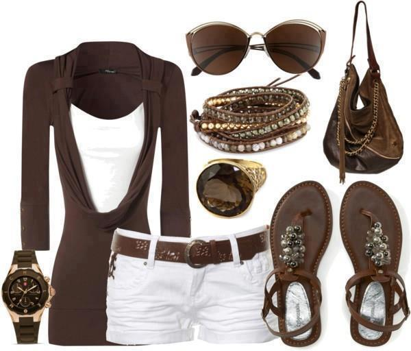 Dark brown blouse, sunglasses, white mini skirt, sandals and other accessories for ladies