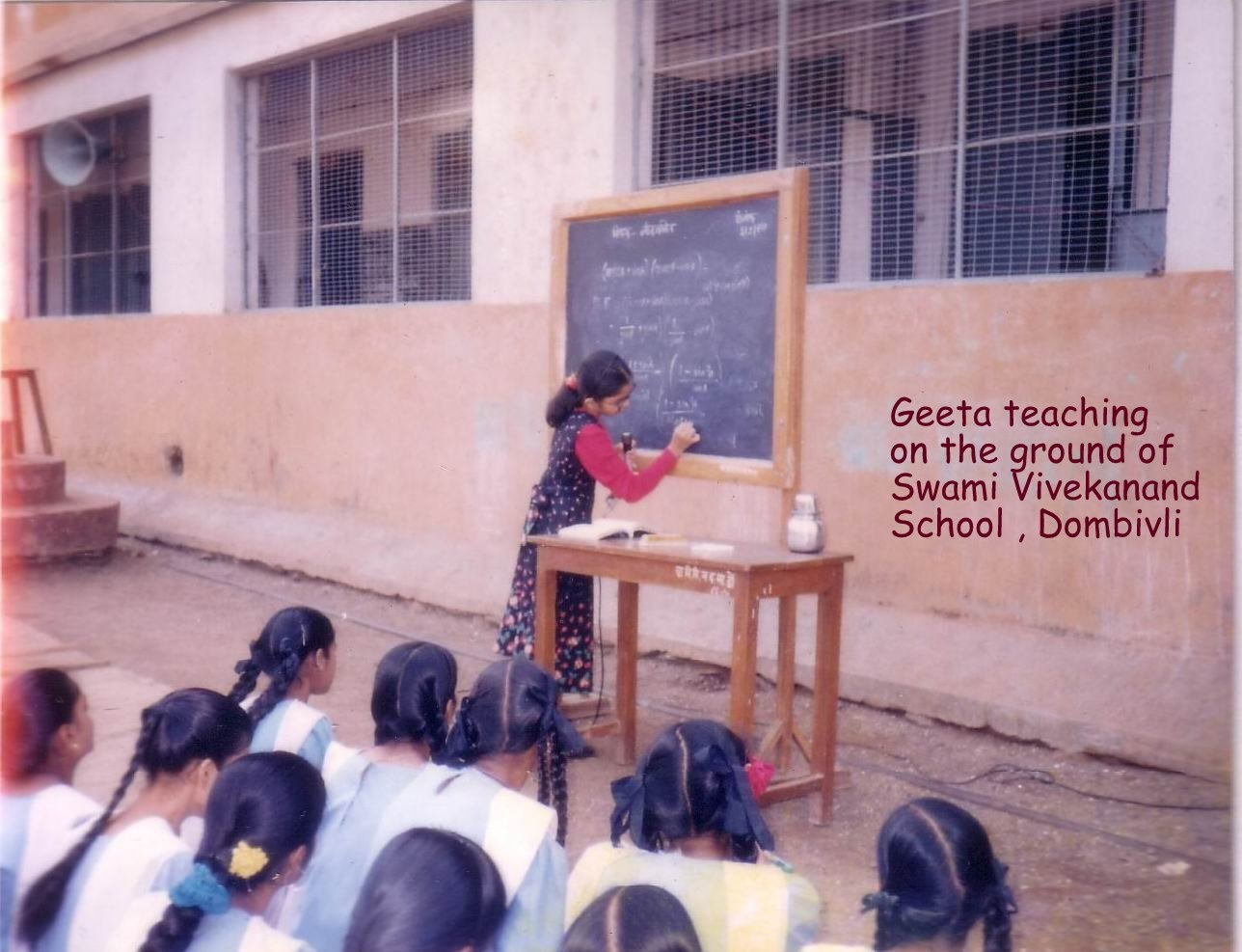 Geeta teaching to 10th std Students While she was in 6th