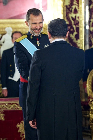 King Felipe VI of Spain receives new ambassadors at the Royal Palace on 06.10.2014 in Madrid, Spain.