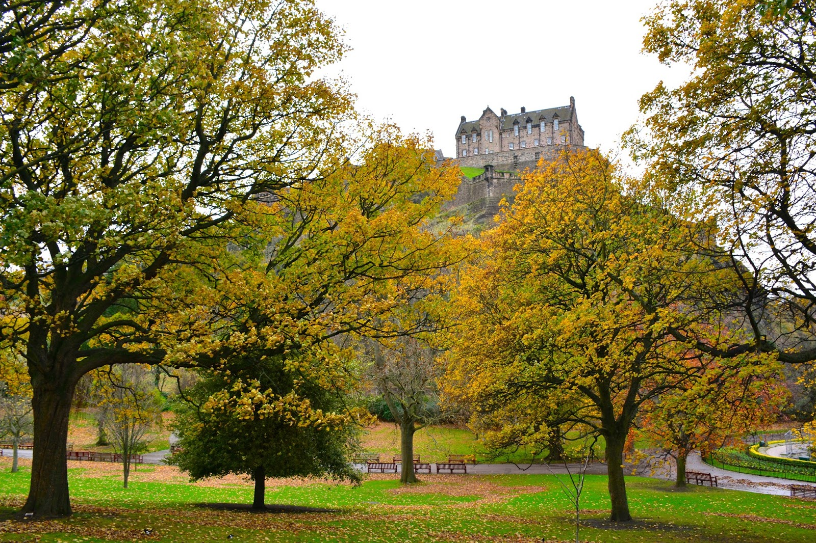 Edinburgh Castle from Princes Street Gardens in autumn