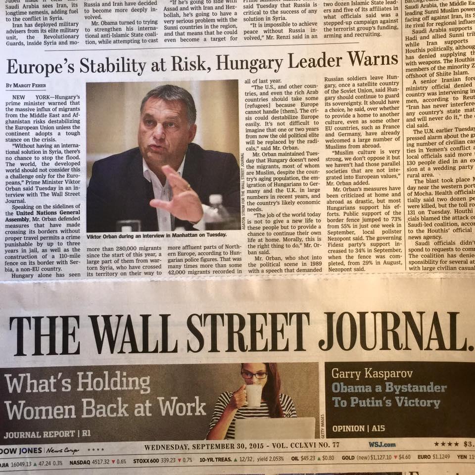 bevándorlás, Európa, interjú, Magyarország, migráció, Orbán Viktor, Wall Street Journal,