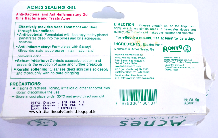Mentholatum Acnes Sealing Gel Product Information