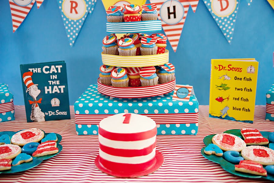 "the dessert table I displayed a framed Dr. Seuss ""Happy Birthday"