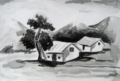 Hilly Landscape in Water Colors (Black and White)