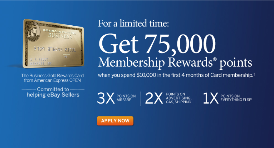 75000 point amex gold business rewards card gt a second for Amex gold business card