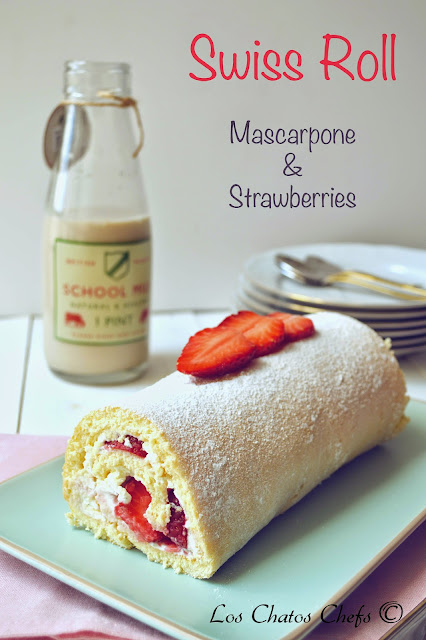 Mascarpone and strawberry swiss roll