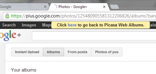 Picasa Web Albums Redirects to Google+ Photos
