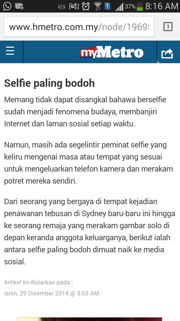 Selfie paling bodoh!