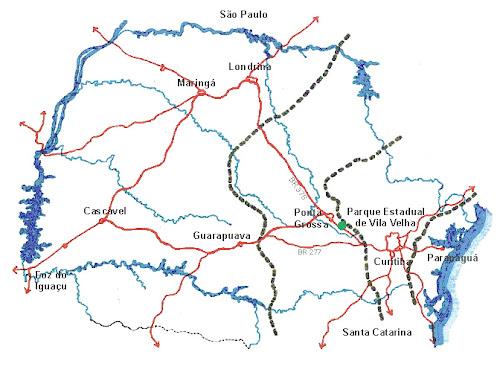 Mapa de acessos ao Parque Estadual Vila Velha - Paraná