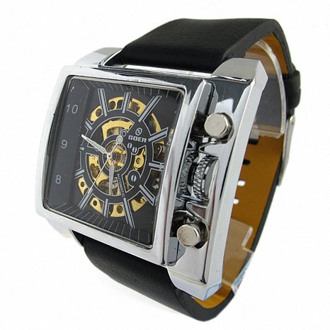 Youyoupifa Black And Square Automatic Mechanical Movement Men's Watch