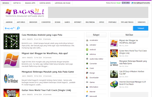 Theme Bagas31 WordPress Version