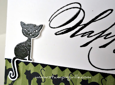 Heat Embossed Black Halloween Cat