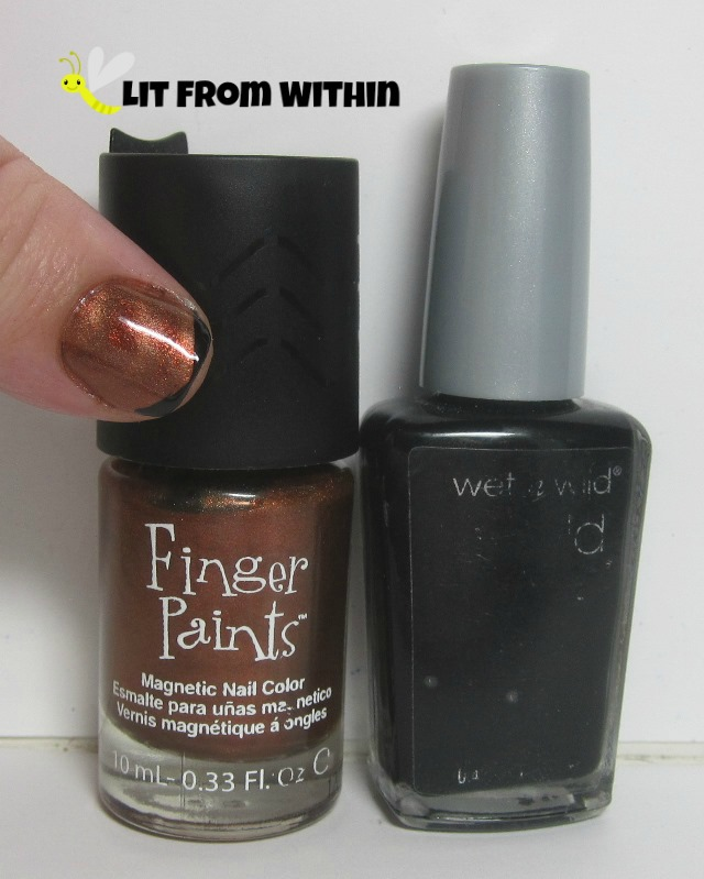 Bottle shot:  Finger Paints Cop An Attitude, Wet 'n Wild Black Creme.