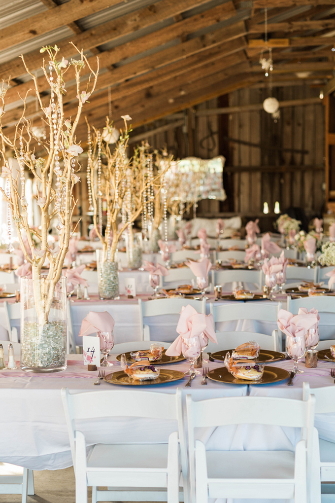 Pink and Gold Rustic Barn Wedding