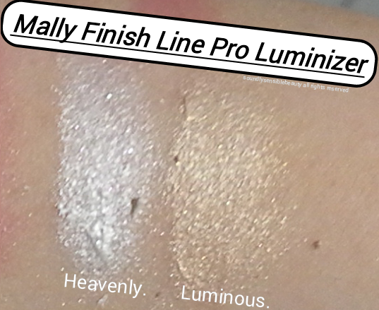 Mally Finish Line Pro Luminizer Highlighter; Review & Swatches of Shades Heavenly & Luminous