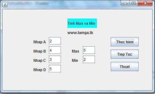 Bài 14 : Hãy thiết kế giao diện đồ họa tính max và min của 4 số bất kỳ a,b,c,d