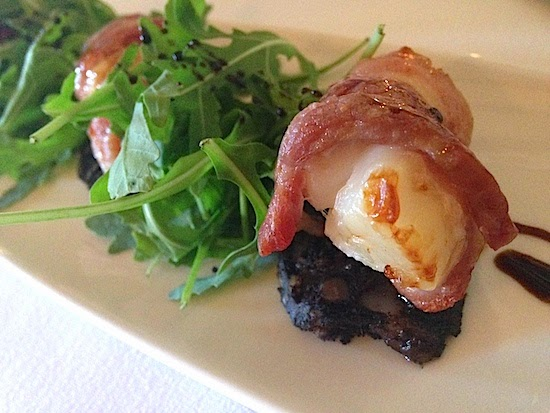 King Scallops with Bacon and Black Pudding