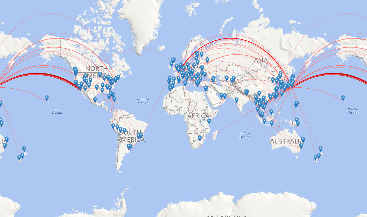 FLIGHT ROUTES I'VE TAKEN