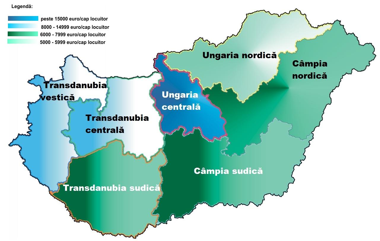 Harta pib-ului pe cap de locuitor în Ungaria