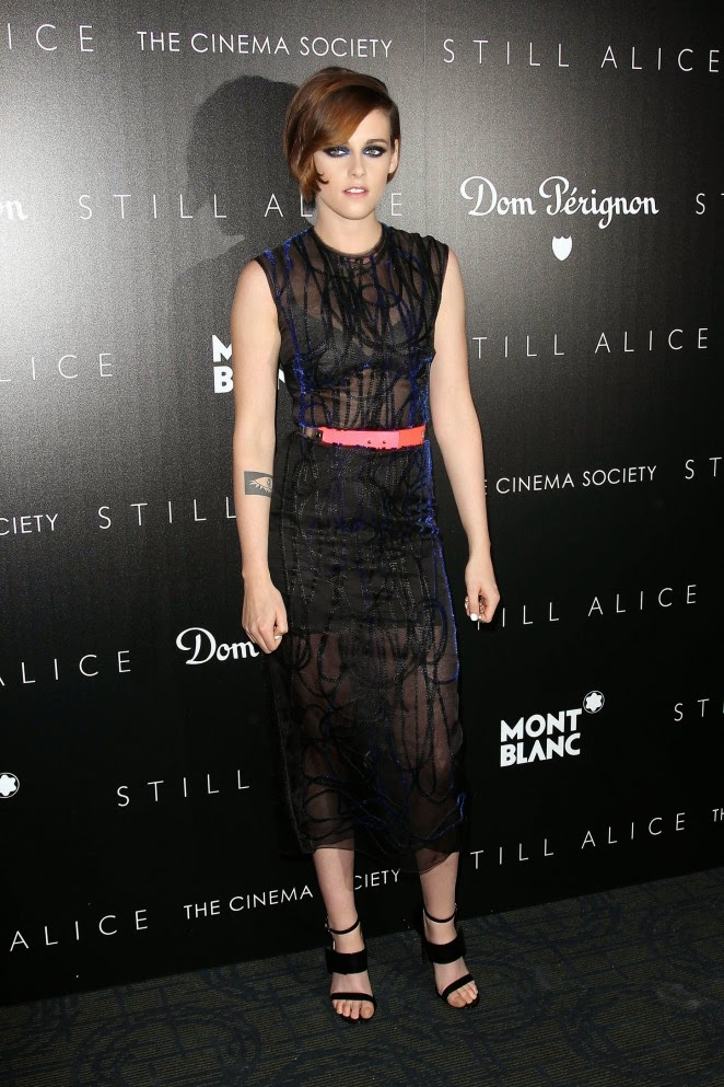 Kristen Stewart is glamorous in a sheer dress at the 'Still Alice' New York City Screening