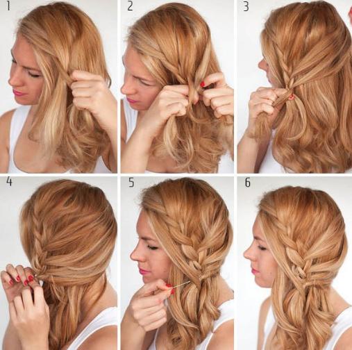 Paso n°1., Haz una división de tu cabello al costado derecho de tu cabeza y péinalo para el lado contrario. Luego comienza armando una trenza común.