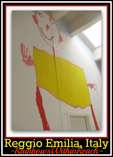 photo of: Reggio Emilia, Italy Children's Drawings Enlarged into Two Story Foyer