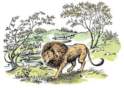 Lion Aslan walks through Narnia