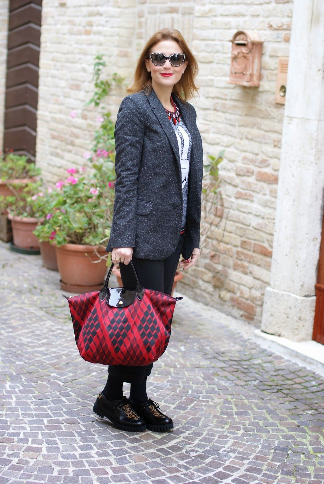 boyfriend blazer, Longchamp Le Pliage Losange handbag, Roberto Botticelli shoes, Fashion and Cookies, fashion blogger