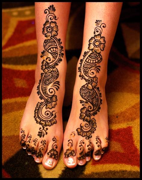 Mehndi Tattoo Designs For Feet : Temporary henna tattoos on foot for women tattoo