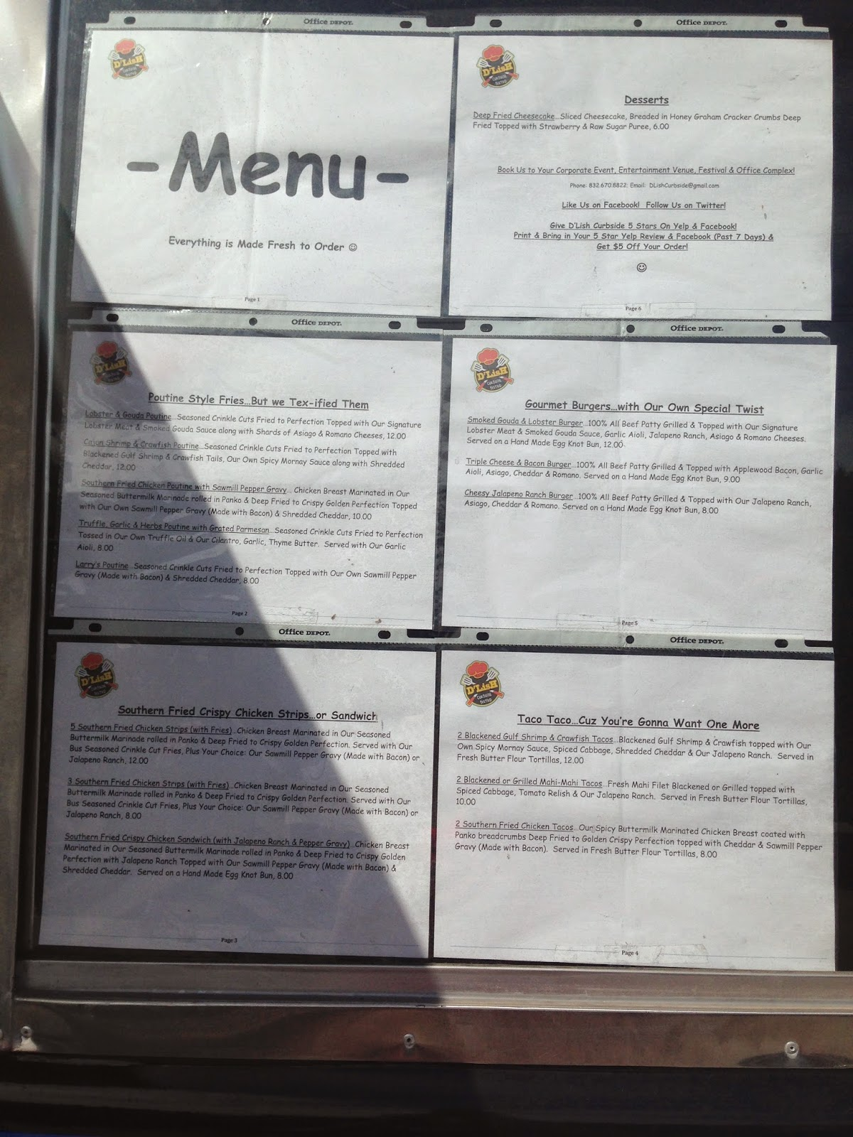 D'Lish Curbside Bistro Food Truck, Menu