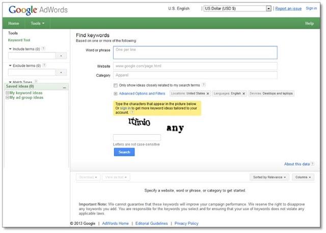 cara riset keyword - Tampilan google keyword tool