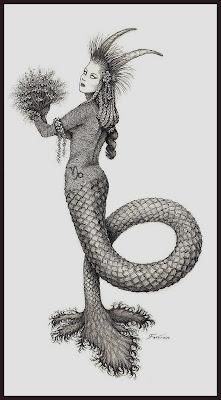 Mujer Con Cachos y Pies de Sirena
