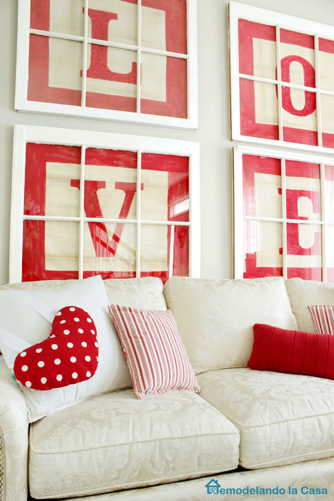 Love alphabet letter art with heart in living room for Valentines