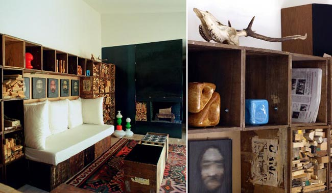 diseño interior en un loft con cajas de madera detalle armario