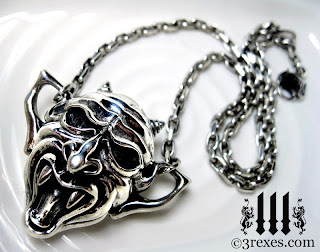 3 rexes jewelry the screaming vampire gargoyle gothic necklace from silver devil gargoyle necklace detail aloadofball Gallery