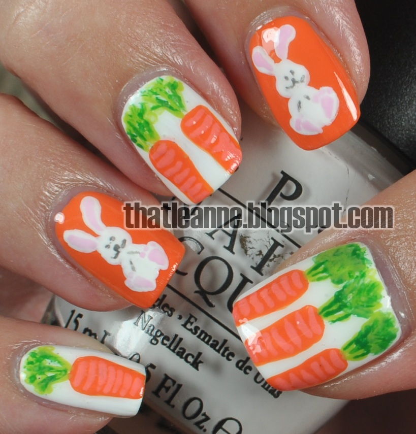 Easter Bunny Nail Art: Thatleanne: Easter Bunny With Carrots Nail Art